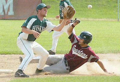 BH-BL's Keaton Flint is safe on a steal to second as Franklin Academy's Jason Stepnoski waits for the throw during Tuesday's Class A regional final at Bleeker Stadium in Albany.  Ed Burke 6/7/11