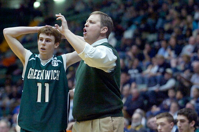 Greenwich head coach Duke Beck spoke with Joe Estramonte during the last quarter game against Syracuse Academy of Science Friday afternoon at the Glens Falls Civic Center. Photo Erica Miller 3/18/11 spt_Greenwich7_Sat