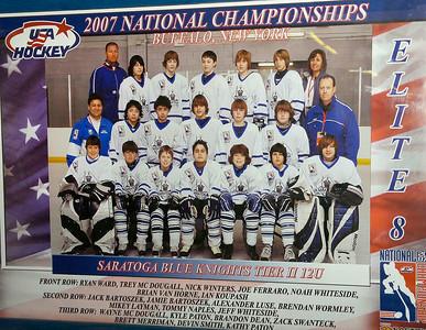 The title-winning team poster inside Saratoga Srings Ice Rink. Ed Burke 3/8/12