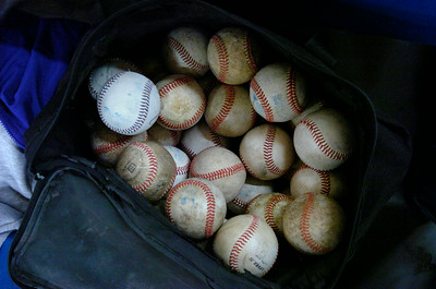 Baseballs wait to go to work Tuesday evening as the Saratoga Central Catholic Saints came to Saratoga Springs Recreation Center for an indoor workout. Ed Burke 3/6/12