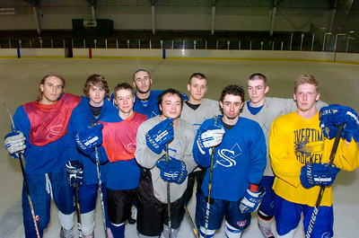 Saratoga hockey players from left: Devin Smith, Tom Naples, Nick Winters, Kyle Paton, Jamie Bartoszek, Brendon Wormley, Alex Luse, Mike Layman, and Brett Merriman. Ed Burke 3/8/12