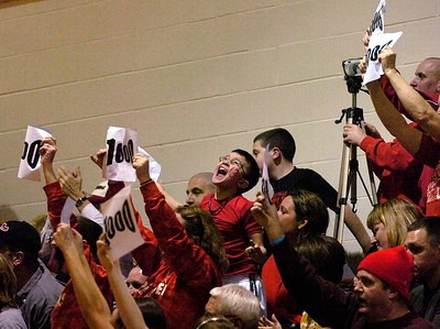 A young fan with Jordan McBride's number on his cheek reacts to McBrides's 1000 career point scored during Mechanicville's  CLass C regional playoff win over Seton Catholic of Plattsburgh Wednesday evening at Stillwater High School. Ed Burke 3/7/12