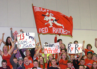Mechanicvill fans cheer on their Red Raiders during Wednesday's Class C regional win over Seton Catholic of Plattsburgh. Ed Burke 3/7/12