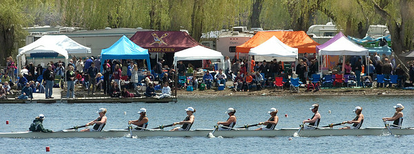 A Shenedehowa Varsity Women's 8 boat competes in the Saratoga Invitational Saturday on Fish Creek. Ed Burke 4/28/12
