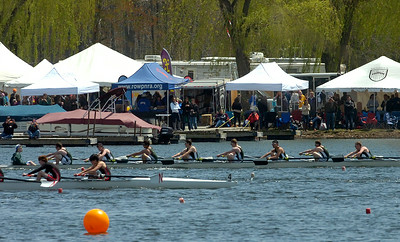 A Shenedehowa Men's Lightweight 8 boat, back, competes in the Saratoga Invitational Saturday on Fish Creek. Ed Burke 4/28/12