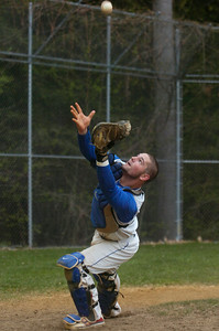 Saratoga catcher Zach Forbes tried to catch a pop-up during their baseball game against Ballston Spa. Photo Erica Miller 4/30/12 spt_Baseball1_Tues