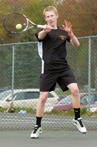Ballston Spa's Connor Doud during their tennis match against Saratoga on Monday afternoon. Photo Erica Miller 4/30/12 spt_tennis3_Tues