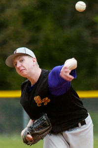 Ballston Spa's pitcher Franklin Miller warms up during their baseball game against Saratoga. Photo Erica Miller 4/30/12 spt_Baseball6_Tues