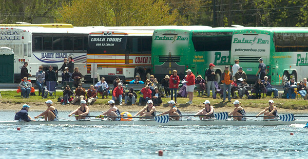A Saratoga Varsity Women's 8 boat competes in Saturday's Saratoga Invitational on Fish Creek. Ed Burke 4/28/12