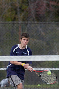 Saratoga's Andrew Kiliey during their tennis match against Ballston Spa on Monday afternoon. Photo Erica Miller 4/30/12 spt_tennis2_Tues