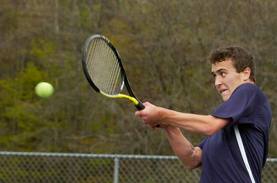 Saratoga's Nick Arciero during their tennis match against Ballston Spa on Monday afternoon. Photo Erica Miller 4/30/12 spt_tennis1_Tues