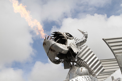 Shaun Walker/The Times-Standard  Bottom Feeders spits fire above the Arcata Plaza at the Kinetic Grand Championship on Saturday.
