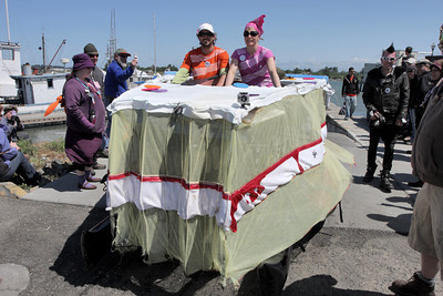 Josh Jackson/The Times-Standard  Piece of Cake didn't get soggy in Humboldt Bay during Day Two of the Kinetic Grand Championship in Eureka on Sunday.