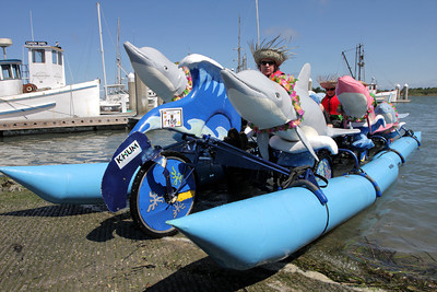 Josh Jackson/The Times-Standard  Melvin is the first sculpture to exit Humboldt Bay during Day Two of the Kinetic Grand Championship in Eureka on Sunday.