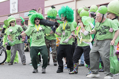 Shaun Walker/The Times-Standard  The Fros 'n' Peas crew does a funky dance before the Kinetic Grand Championship start in Arcata on Saturday.