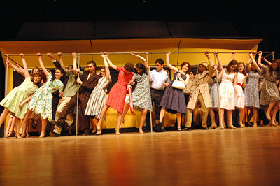 "The subway cars brakes during a scene of ""Bells are Ringing"" at Saratoga High School. photo by Tony Bucca"