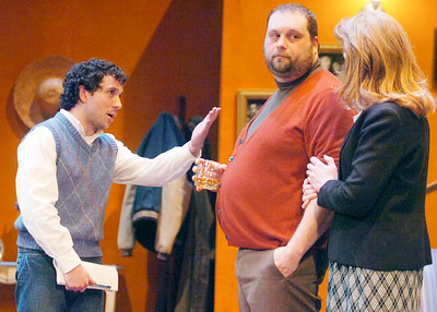 Clifford Anderson, played by Ian LaChance, Sydney Bruhl played by Aaron Holbritter, and Myra Bruhl played Monica Cangero during their dress rehearsal of Deathtrap, as part of the HMT at the Spa Little Theater. Photo Erica Miller 2/8/10 fea_Deathtrap8