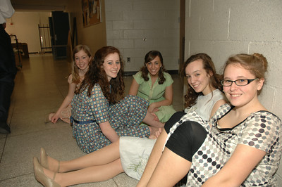 "Waiting backstage before their call to the stage for ""Bells are Ringing"" at Saratoga High School are L-to-R: Mary O'Rourke, Sara Donnellen, Jillian Moony, Lauren Ecker, Stacia Carola. photo by Tony Bucca"
