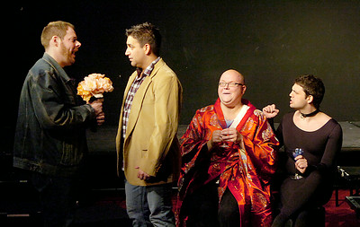 "From left: J.J. Buechner, Sev Moro, Jim Lanahan and Jimmy Cupp rehearse a scene from ""Jeffrey"". Ed Burke 2/17/10"