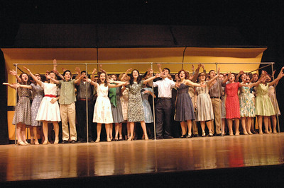 "Cast of ""Bells are Ringing"" sing out during dress rehersal at Saratoga High School. photo by Tony Bucca"
