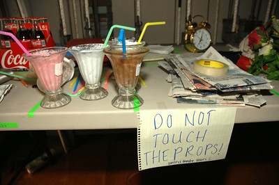 "Prop table backstage at ""Bells are Ringing"" at Saratoga High School. photo by Tony Bucca"