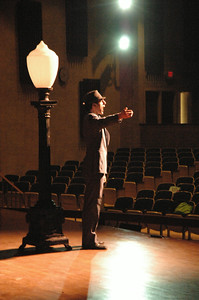 "Dave Burns sings during rehersal of ""Bells are Ringing"" at Saratoga High School. photo by Tony Bucca"