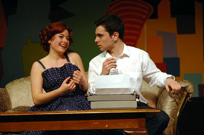 "Leads Lily Holgate and Mike Twomey run through a scene during dress rehersal of ""Bells are Ringing"" at Saratoga High School."