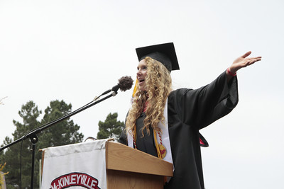 Shaun Walker/The Times-Standard  Heather Lovelace speaks at McKinleyville High School's graduation ceremony at College of the Redwoods on Thursday afternoon. About 150 seniors graduated.