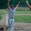 Mike Farrell/Reformer<br /> Leland & Gray's senior Ryan Lawley lifts his arms in celebration after scoring the winning run on senior Tyler Chapin's eighth inning sacrifice fly. The No. 2 Rebels beat Northfield, 7-6, Saturday afternoon in the Division III quarterfinals.