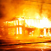 Zachary P. Stephens/Reformer<br /> Fire engulfs the Putney General Store late Sunday night.