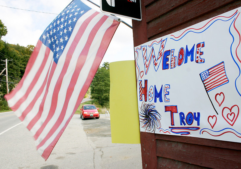 """A sign saying """"Welcome Home Troy"""" is seen on the side of the Guilford Country Store welcoming home Troy Revis from his tour in Iraq.<br /> (Zachary P. Stephens/Reformer)"""