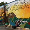 Students, local artists and community members all pitched in to create a new W.E.B. DuBois mural in Great Barrington on Sunday.  Great Barrington, 7/25/10 - Ian Grey
