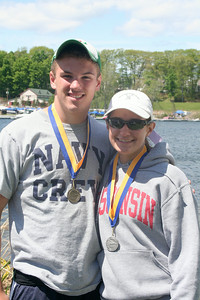 Shenendehowa seniors and medalists in the Sr 1X, gold medall winner and US Naval Academy-bound Ian Fisher with  silver medalist and Wiscosin-bound Abby Knight. STAN HUDY/Community News