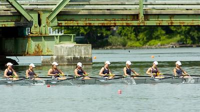 Saratoga Women's Freshman Eight Heat takes down Saratoga Lake Friday morning for the Scholastic Rowing Association of America National Championships.  Photo Erica Miller 5/29/10 spt_SarWmFreshEight_Sat