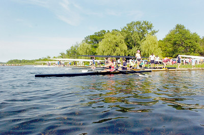 Rowers head out to Saratoga Lake docks to a test run after arriving in preparation for the Scholastic Rowing Association of America National Championship Regatta Friday and Saturday. Photo Erica Miller 5/28/10 news_Regatta3_Fri
