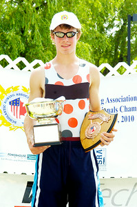 Ballston Spa's Men's Varsity Single Final winner Ryan Allen holds his winning plaques after the Scholastic Rowing Association of America National Championship Saturday morning. Photo Erica Miller 5/29/10 spt_BspaWIN_Sun