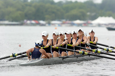 Saratoga's Women's Freshman Eight head down Saratoga Lake for the Final at the Scholastic Rowing Association of America National Championship Saturday morning. Photo Erica Miller 5/29/10 spt_TogaFreshLgt_Sun