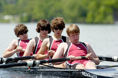 Burnt Hills Men's Junior Four Heats, placing third, down Saratoga Lake Friday morning for the Scholastic Rowing Association of America National Championships.  Photo Erica Miller 5/29/10 23_FriBHJrFour