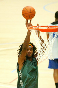 Jordan Hill from the New York Knicks takes a shot at the basket during their first practice at Skidmore College Tuesday morning. Photo Erica Miller 9/29/09 spt_JordanHill_Wed