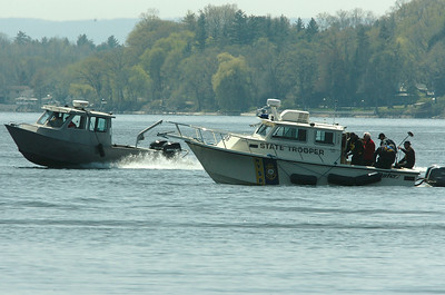New York State Police boats participate in water training on Saratoga Lake Wednesday afternoon. photo Rick Gargiulo news_watertrain1_thu 4/29/09