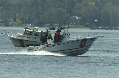 New York State Police boats participate in water training on Saratoga Lake Wednesday afternoon. photo Rick Gargiulo news_watertrain2_thu 4/29/09
