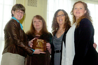 Members of the Domestic Violence and Rape Crisis of Saratoga were awarded the Liberty Bell award Monday afternoon at the Canfield Casino for the 2010 Annual Law Day Luncheon. (L-R) Patty Dailey, Irene Safford, Christie Keegan and Maggie Fronk. Photo Erica Miller 5/3/10 news_LawDay3_Tues