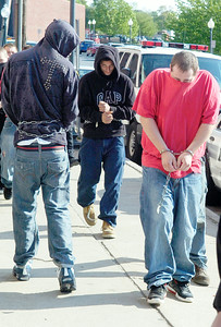 William Grant, Thomas McCall, Jared Cenate and  Joshua Salak arrive from Saratoga County Court with several inmates to Saratoga Springs City Hall for a burglary which occurred over the weekend at a North Broadway home. Photo Erica Miller 5/4/10 news_BurglaryBoys_Wed