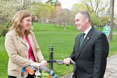 Supervisor Matthew Veitch speaks with supporter Meg Leary before announcing his intentions to seek a third term Friday afternoon in front of the Canfield Casino in Saratoga Springs. Photo Eric Jenks 4/29/11