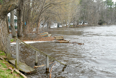 The backyard of Jim Baker's home on Bay Road, as he stated only three steps are shown, and thirteen submerged under water as the Hudson River flooding occurred for the second day. Photo Erica Miller 4/29/11 news_Flooding6_Sat