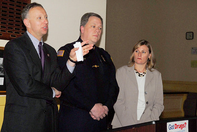 Saratoga County District Attorney James Murphy, III , spoke along side Saratoga Springs Police Chief Christopher Cole and Saratoga Prevention Council Executive Director Heather Kisselback for their participation in the DEA sponsored National Prescription Drug Take-Back scheduled for today (Saturday), being help from 10-2. Photo Erica Miller 4/29/11 news_DrugTakeBack_Sat