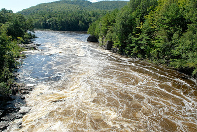The Great Sacandaga River where it meets with the Hudson River in Lake Luzerne, over flowing with water. Photo Erica Miller 8/30/11 news_FallsWater2_Wed
