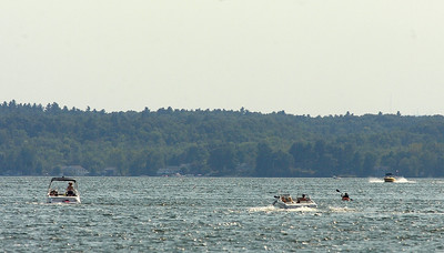 Boaters and a kayaker enjoy Saratoga Lake Thursday. Ed Burke 8/30/12