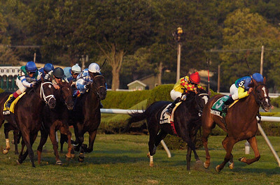 Javier Castellano rode in Dayatthespa, a NY Bred, trained by Chad Brown for the 4th Running of The Riskaverse at the Saratoga Race Course on Friday evening. Photo Erica Miller 8/31/12 spt_Riskaverse1_Sat