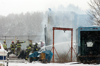 Fire at the Johnson Auto Crushers on Ballard Road in Wilton early afternoon Monday. Photo Erica Miller 12/28/09 new_FireBallard1_Tues